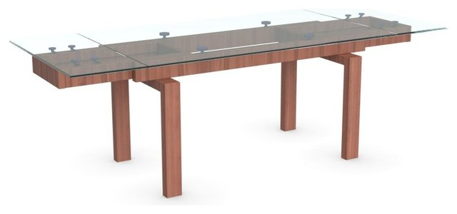 Hyper Extension Table Frame Walnut Leg Finish Transparent Top Modern Dining