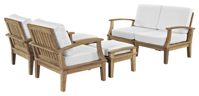 Marina 6-Piece Outdoor Patio Teak Sofa Set, Natural White.