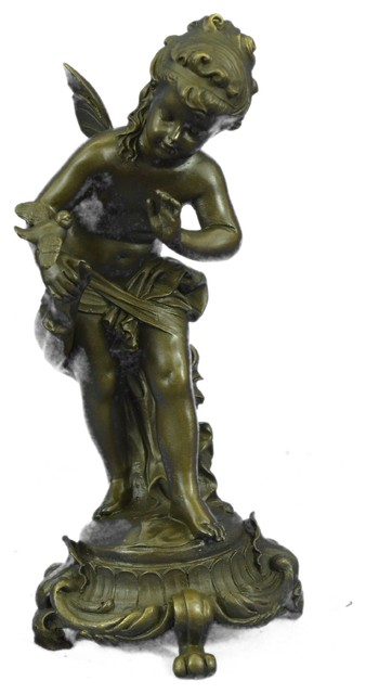 0809a6a0368 Winged Cherub Fairy With Bird Bronze Sculpture by Auguste Moreau 9