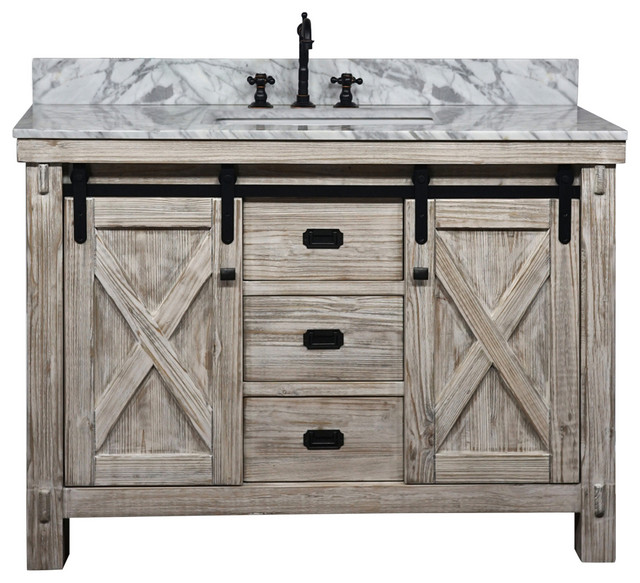 49 Rustic Solid Fir Barn Door Style Single Sink Vanity Arctic Pearl Marble Top Farmhouse Bathroom Vanities And Sink Consoles By Infurniture Inc