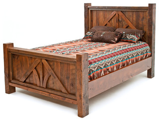 Post and Beam Barnwood Bed - Rustic - Panel Beds - by Woodland Creek Furniture