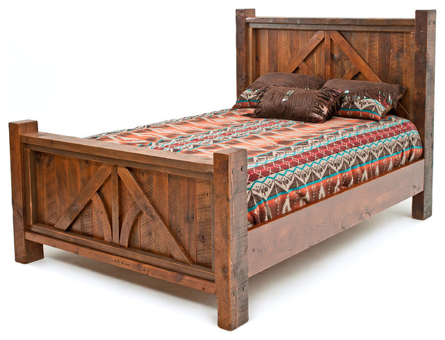 Post And Beam Barnwood Bed Rustic Panel Beds By