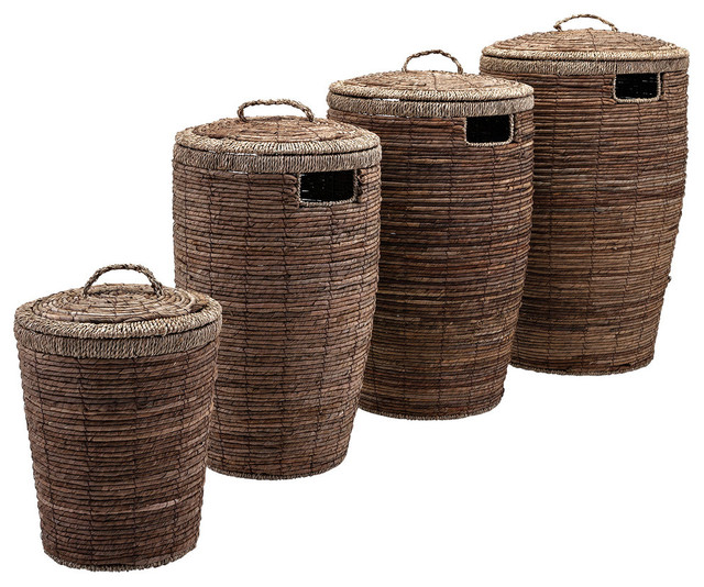 4 Piece Round Laundry Baskets With Lid And Side Cutouts Set Brown Tropical Hampers By Benzara Woodland Imprts The Urban Port