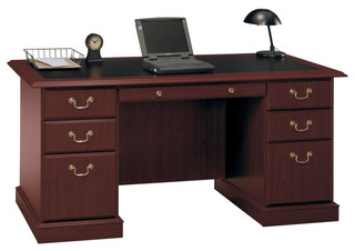 Bush Saratoga Executive Home Office Wood Managers Desk In Cherry View Your Room Houzz