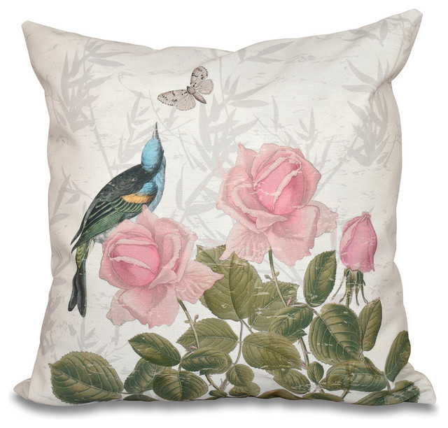 Modern Print Pillows : Asian Rose, Floral Print Pillow - Contemporary - Decorative Pillows - by E by Design