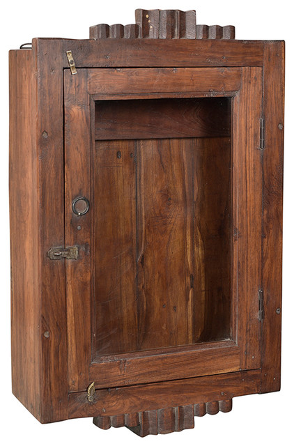 Consigned Colonial Teak Wall Cabinet.