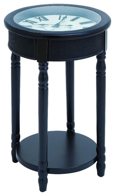 Inspired round clock top accent table shelf black accent for Clock coffee table round