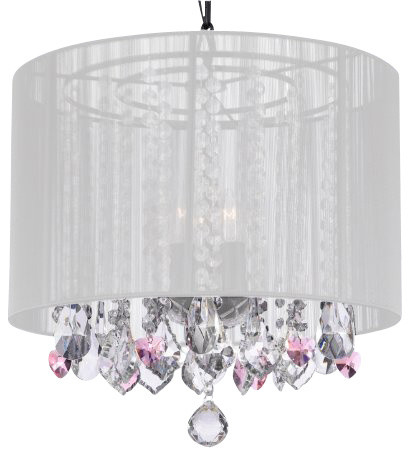 Crystal Chandelier With Pink Hearts, White