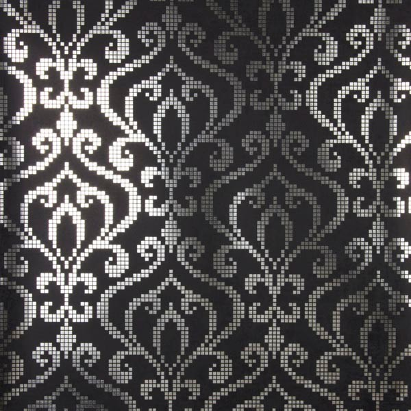 Venus Charcoal Foil Mini Damask Wallpaper Bolt.