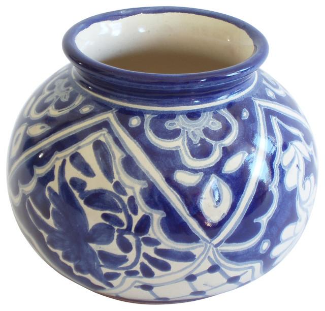 small round vase bluewhite floral
