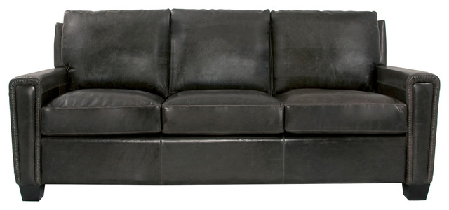 Modern Track Arm Leather Sofa