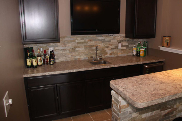 basement bar cabinetry and tile ideas eclectic cleveland by jm