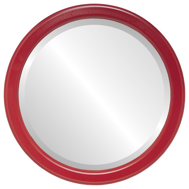 Toronto Framed Round Mirror in Holiday Red - Contemporary - Wall ...