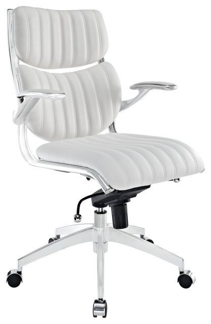 Ribbed Faux Leather Ergonomic Mid Back Office Chair, White