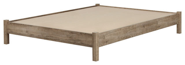 Kipling Platform Bed, Queen, Weathered Oak.