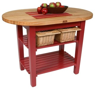 "John Boos Elliptical C-Table With 2 Shelves And Barn Red Base, 60""x30"""