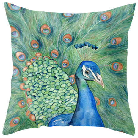"""Decorative Pillow Cover, Peacock Painting, 20""""x20"""""""
