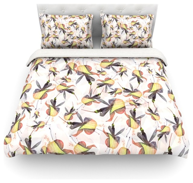 "Akwaflorell ""Fuchsia on the Wind"" Yellow Duvet Cover Farmhouse"