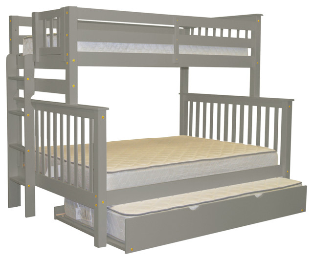Bedz King Bunk Beds Twin Over Full With End Ladder And Twin Trundle, Gray.