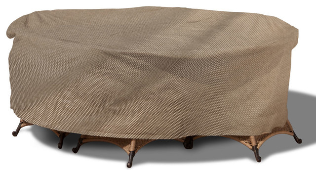"""EmpirePatio Tan Tweed Round Table and Chairs Cover 88""""x30"""" Conte"""