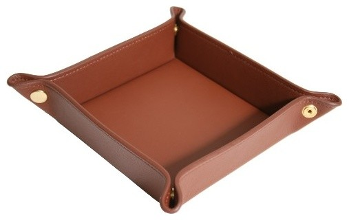 Royce Leather Luxury Travel Valet Catchall Tray, Genuine Leather, Tan.