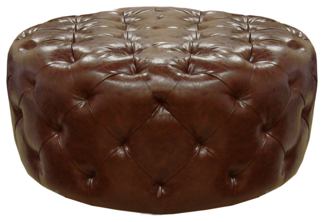 Armen Living Victoria Ottoman, Brown Bonded Leather.