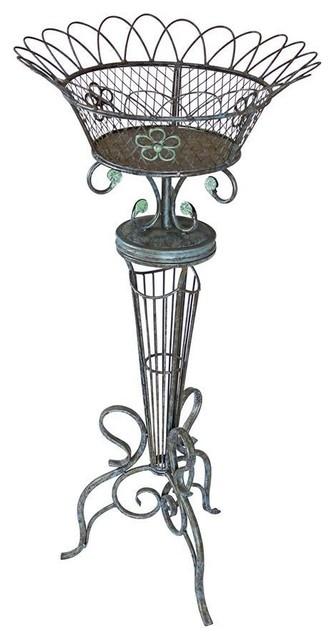 Victorian Basketweave Metal Fern Planter