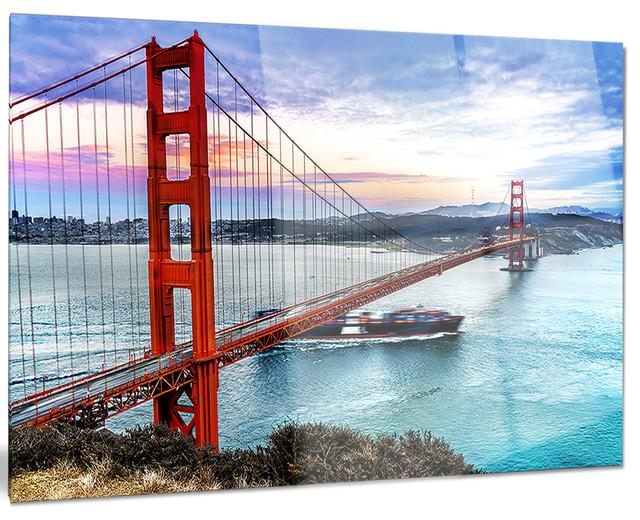 """golden Gate In San Francisco"" Glossy Metal Wall Art, 40""x30""."