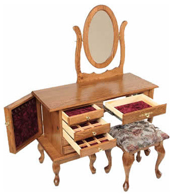 Queen Anne Jewelry Dressing Table With Mirror