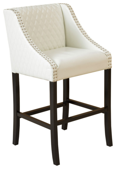 GDF Studio Filton Quilted Leather Counter Stool, Ivory