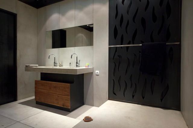 lavabo en beton et cache radiateur en t le ajour e industriel toulouse par concreteart. Black Bedroom Furniture Sets. Home Design Ideas