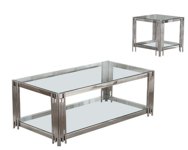 Avignon Glass Top Coffee and End Table, Silver, 2-Piece Set