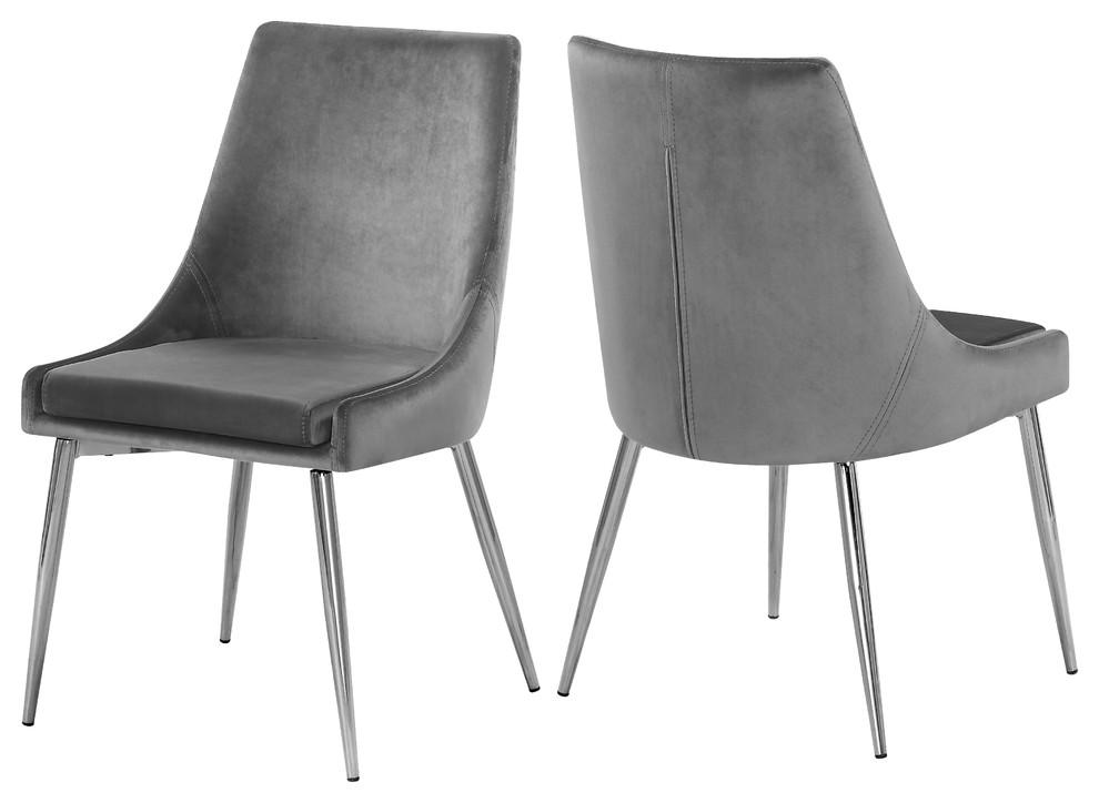 Karina Velvet Dining Chairs Set Of 2 Gray Chrome Base