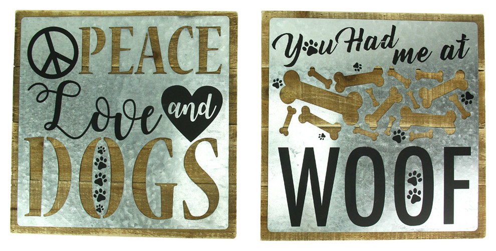Dogs 2 Piece Rustic Wall Decor