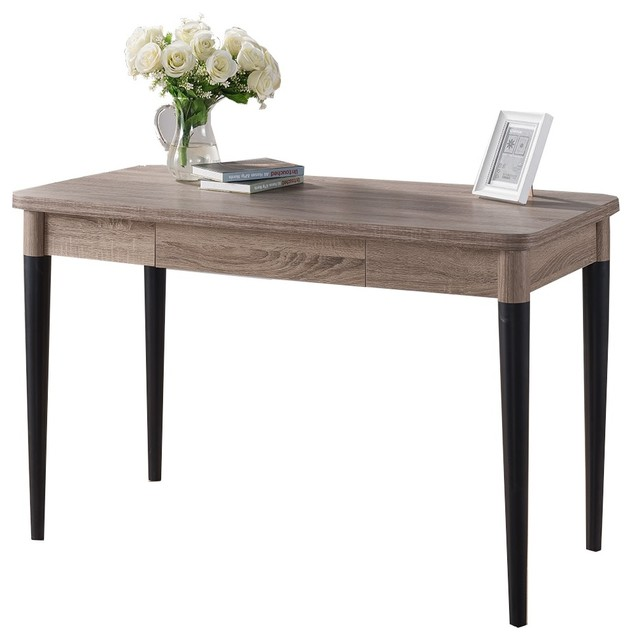 Black Table Desk Part - 31: 151395 Smart Home Dark Taupe And Black Writing Desk Midcentury-desks -and-hutches