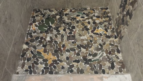 Help Select Grout Color For River Rock Shower Floor