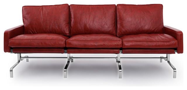 Pk31-Style Modern 3-Seater Sofa, Aniline Premium Leather, Bordeaux.