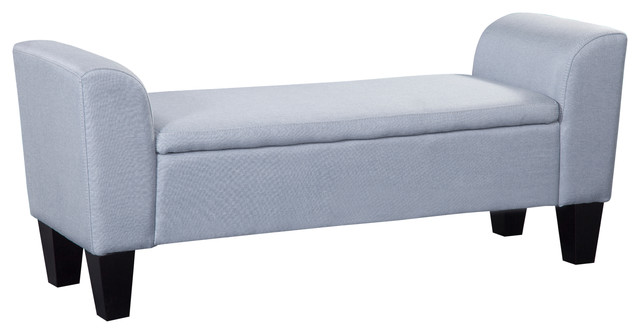 Claire Upholstered Storage Bench, Blue.