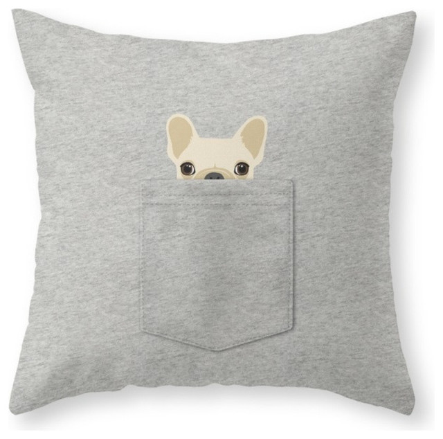 Decorative Cream Pillows : Shop Houzz Society6 Pocket French Bulldog, Cream Throw Pillow - Decorative Pillows