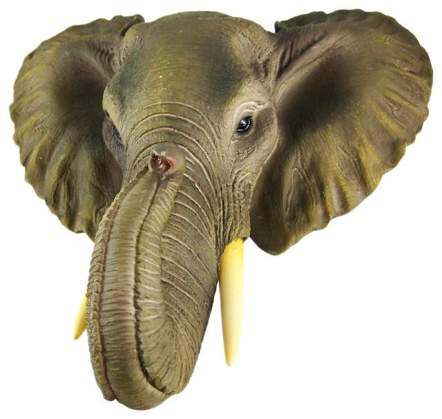 African Elephant Head Mount Wall Statue Mini Bust 9