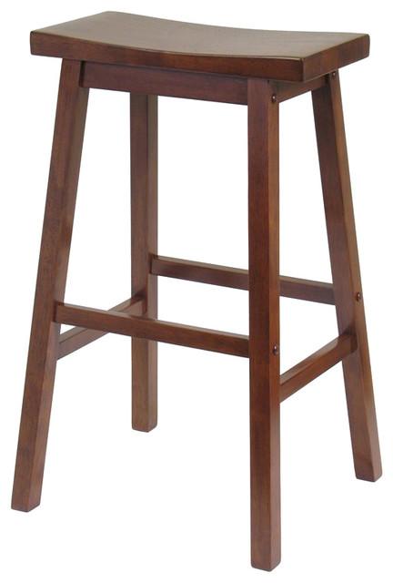 "Queensland Saddle-Seat Bar Stool, Antique Walnut, 29""."