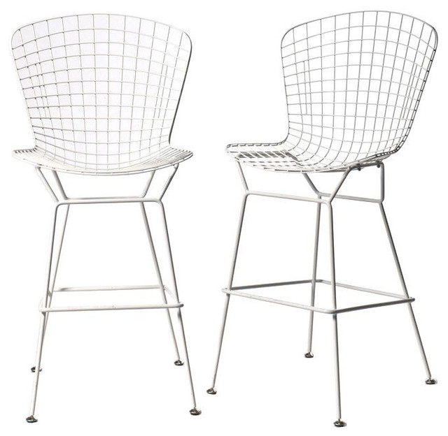 Pair of Bertoia Style Bar Stools in White Est