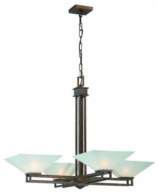 Darcy Glass And Chrome Coffee Table: Nuvo Lighting 4-Light Ratio Chandelier With Frosted Glass