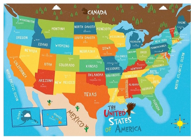 USA Map Art Print For Kids - USA State Capitals Geography Map ... Canada Map States And Capitals on