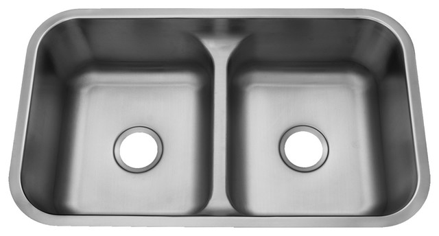 Century Tribute, 18 Gauge Stainless Steel Low Divide 50/50 Double Bowl Sink  Modern