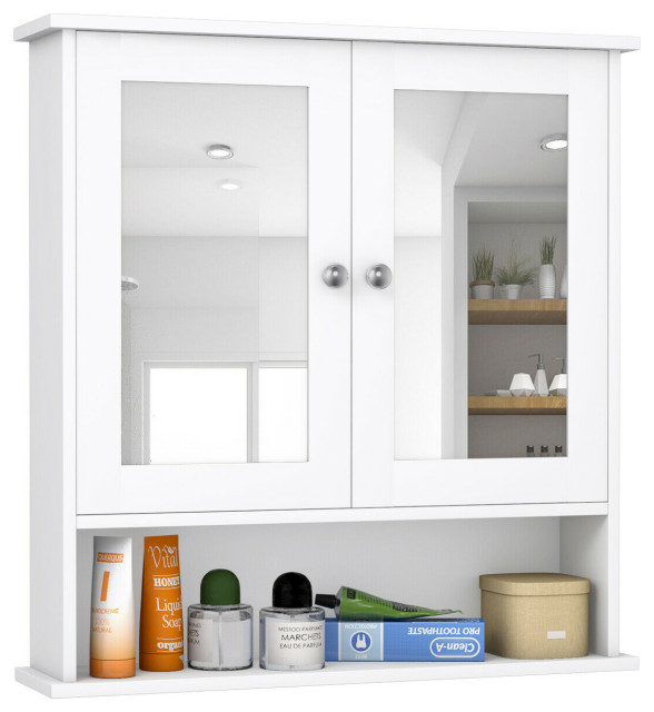 Costway New Bathroom Wall Cabinet Double Mirror Door Cupboard Storage White Transitional Bathroom Cabinets By Goplus Corp