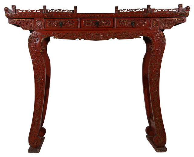 Consigned Antique Chinese Carved Red Lacquered Altar Table Or Consol Asian  Console Tables