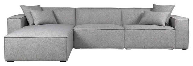 Kardiel Modus Modern Modular 3-Piece Sofa Sectional, Gray, Left Facing
