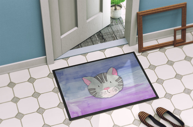 Cat Face Watercolor Indoor/Outdoor Mat, 18x27 by the-store
