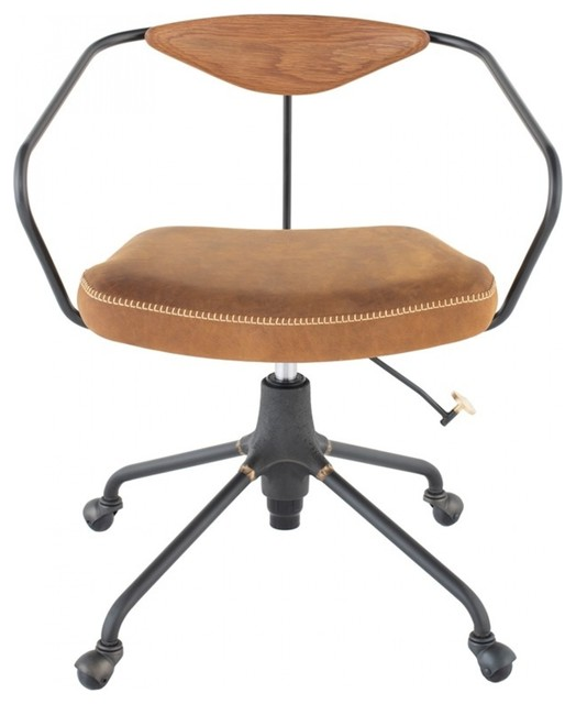 29 3 Tall Adjustable Office Chair Leather Cast Iron Base Hardwood Back Rest